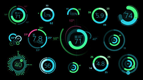 Circle decorative graphs and charts on the black background Animation