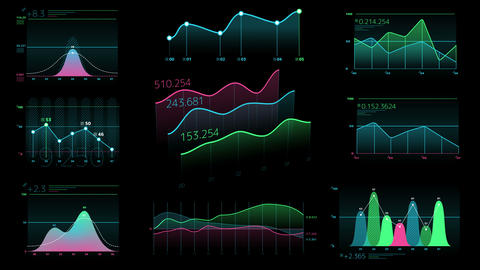 Decorative infographics from linear charts Videos animados