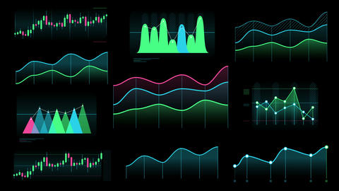 Several clean line and candlestick charts Videos animados
