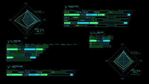 Several decorative infographic schemes on the black background Videos animados