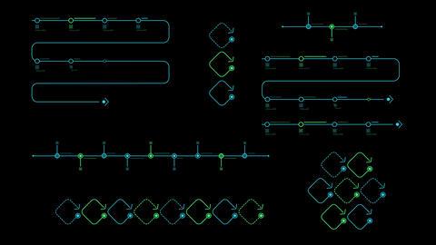 Timeline infographic charts on black background Animation