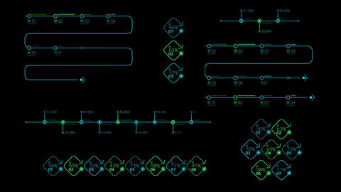 Infographic colored timelines on the black background Animation
