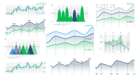 Linear and candlestick charts with neutral data Videos animados