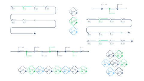 Schemes - timelines on the white background Animation