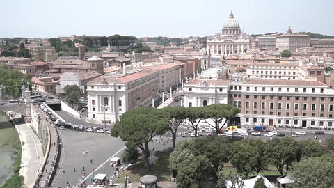 Rome Skyline with Vatican St Peter Basilica of Vatican Live Action