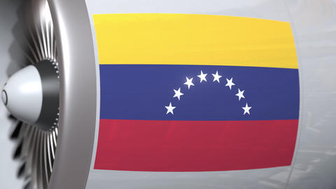 Aircraft engine with flag of Venezuela, Venezuelan air transportation related 3D Live Action