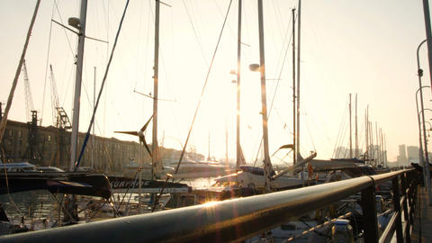 sailboats on the harbor anchored, sunset at the port of Genoa GIF