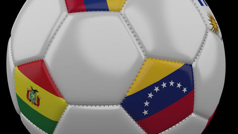 Soccer Ball with flags Copa America 2019, moving on transparent background Animation