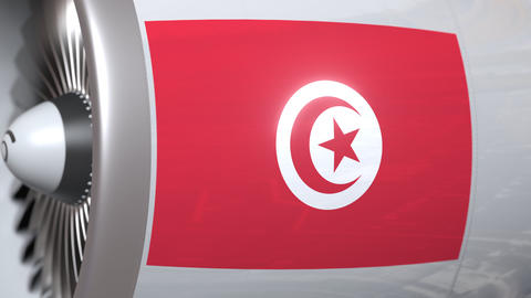 Airplane turbine with flag of Tunisia. Tunisian transportation conceptual 3D Live Action