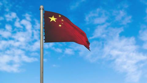 China flag waving animation with alpha Animation