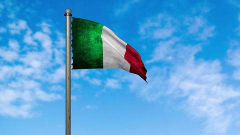 Italy flag waving animation with alpha Animation