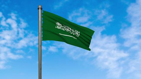 saudi arabia flag waving animation with alpha Animation
