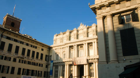 Carlo Felice theater, in the historic center of Genoa Footage