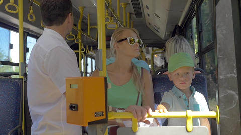 Bus Passengers in Sunny Day Footage