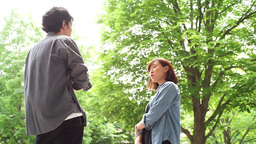 Dating waiting Couple walking frame-out men and women, Live Action