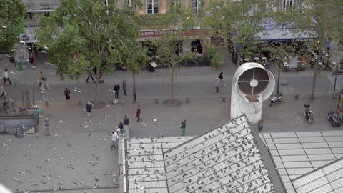 City Pigeons Flying by The Centre Pompidou in Paris Footage