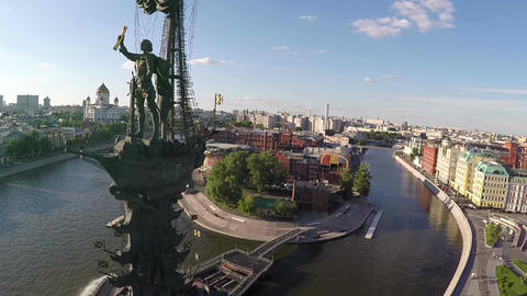 Peter the Great Statue. Aerial view of Moscow landmark