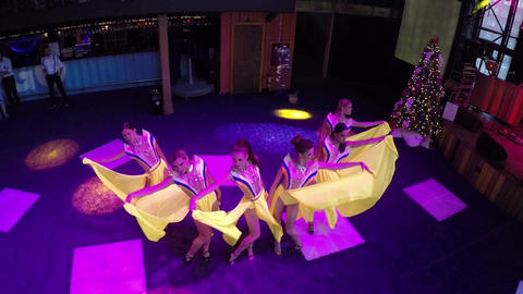 Dancing show in the bar, aerial view Footage