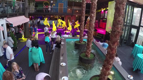 Entertainment show with dancing in Gipsy bar, aerial view Footage