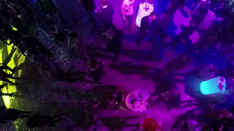 Enjoyable party in the club, aerial view Footage