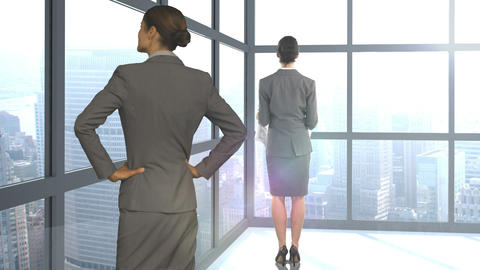Digital image of businesswomen are standing and looking away by window Footage