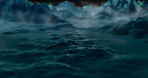 Ice mountains, landscape relfecting full moon in night sky Stock Video Footage