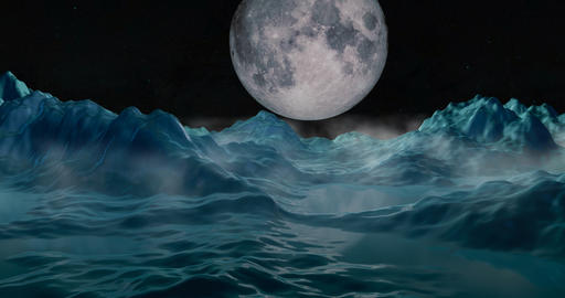 Ice mountains, landscape relfecting full moon in night sky Animation