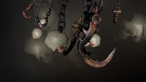 Chains With Skulls and Hooks Animation
