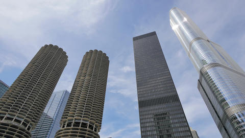Chicago Skyscrapers with Clouds Crossing the Sky Footage
