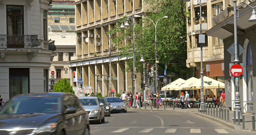 Rush Hour On Victory Avenue (Calea Victoriei) Downtown Of Bucharest City Footage