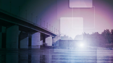 Technology video animation with bridge landscape Stock Video Footage