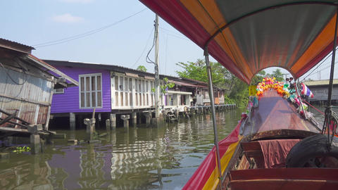 View from boat, floating on canals of Bangkok Footage