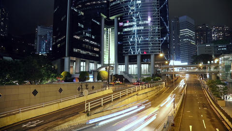 Night Traffic Near the Skyscrapers of Hong Kong City Footage