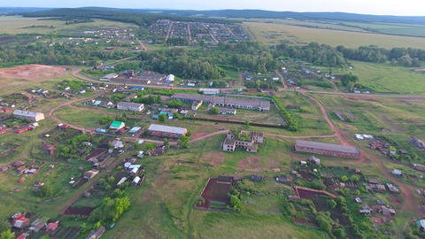 Flying over village in foothills of Urals Footage