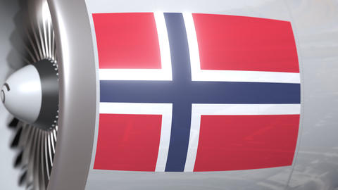 Airplane turbine with flag of Norway. Norwegian transportation conceptual 3D Live Action
