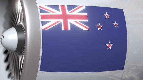 Airplane engine with flag of New zealand. Nz air transportation conceptual 3D Live Action