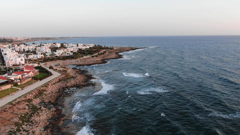 Sea coast aerial view. Flying over the island. Landscape. Mediterranean Sea and Footage