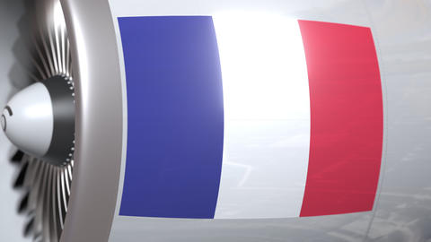 Turbine with flag of France. French air transportation related conceptual 3D Footage
