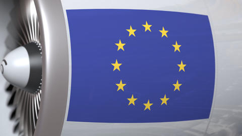 Airplane engine with flag of the EU. The European Union air transportation Footage