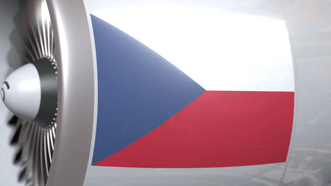 Airplane engine with flag of Czech. Republic air transportation conceptual 3D Footage