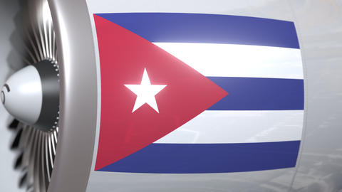 Airplane engine with flag of Cuba. Cuban air transportation conceptual 3D Footage