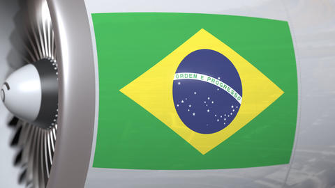 Turbine with flag of Brazil. Brazilian air transportation related conceptual 3D Footage