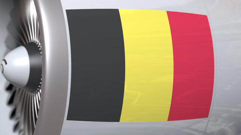 Aircraft engine with flag of Belgium, Belgian air transportation related 3D Footage