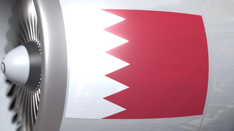 Airplane engine with flag of Bahrain. Bahraini air transportation conceptual 3D Footage