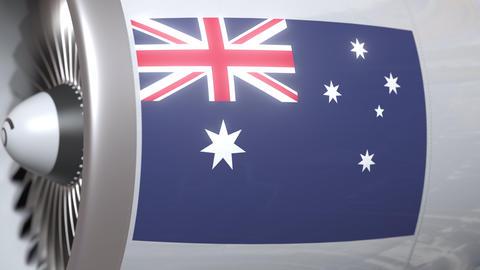 Turbine with flag of Australia. Australian air transportation related conceptual Footage