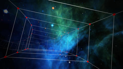 Space 2231: Traveling through a plexus tunnel in space Animation