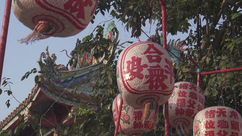 Lanterns with chinese character on it in front of chinese… Stock Video Footage
