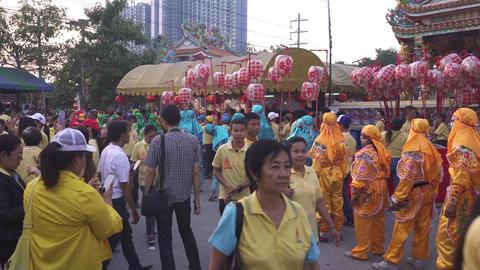 Samutprakan / Thailand - Jan 20 2019: People walking around and wating for chinese new year parade Footage