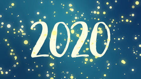 Teal blue Happy New Year 2020 greeting card video GIF