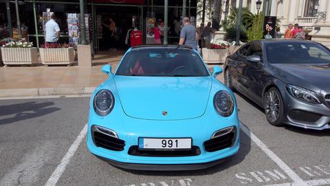 Turquoise Blue Porsche 911 Carrera Turbo S Footage